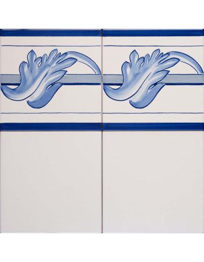 Bianco antico con bordura 700 blu